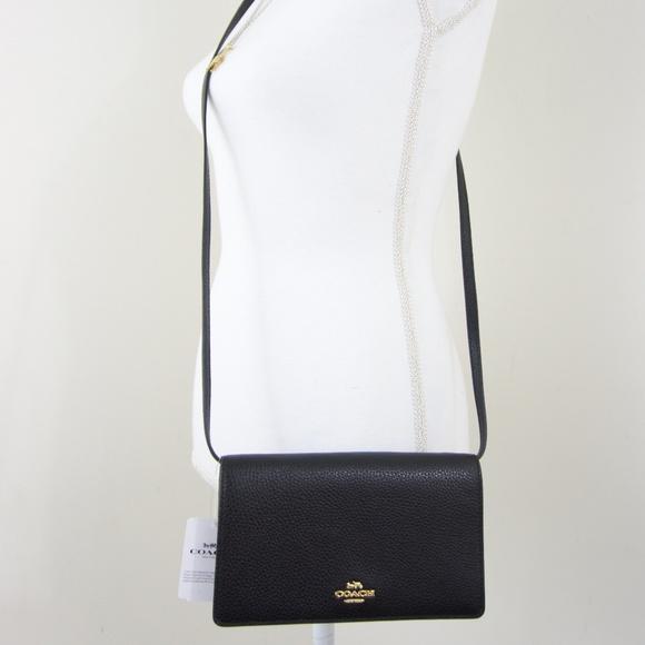 35582698b4fa NWT Coach Pebble Leather Crossbody Bag Clutch BLK